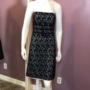 White House Black Market Lace Strapless Midi Dress